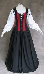 Renaissance-Bodice-Skirt-and-Chemise-Medieval-or-Pirate-Gown-Dress-Costume-4X