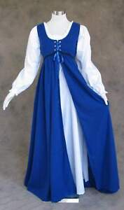Renaissance-Ren-Faire-Medieval-Gown-Dress-and-Chemise-SCA-LOTR-Costume-BLUE-2X