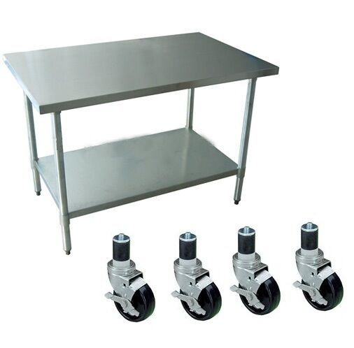 Restaurant stainless steel kitchen work prep table 30 x 30 w 4 casters wheels ebay - Commercial kitchen tables on wheels ...