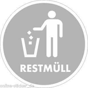 restmuell aufkleber muelleimer muelltonne recycling muelltrennung 10cm 4stueck. Black Bedroom Furniture Sets. Home Design Ideas