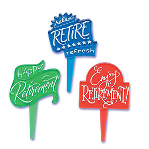 Retirement Cupcake Picks Cake Toppers Decorations 12ct