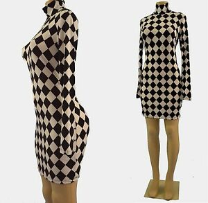 Long Sleeve Mini Dress on Jester Print Short Leg Mock Turtle Neck Long Sleeve Mini Dress   Ebay