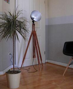 retro loft tripod studio wood stehlampe bauhaus holz stativ leuchte lampe ebay. Black Bedroom Furniture Sets. Home Design Ideas
