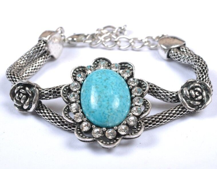 Retro Style Tibet Silver Turquoise Beads Gemstone Bracelet Bangle Charms Jewelry
