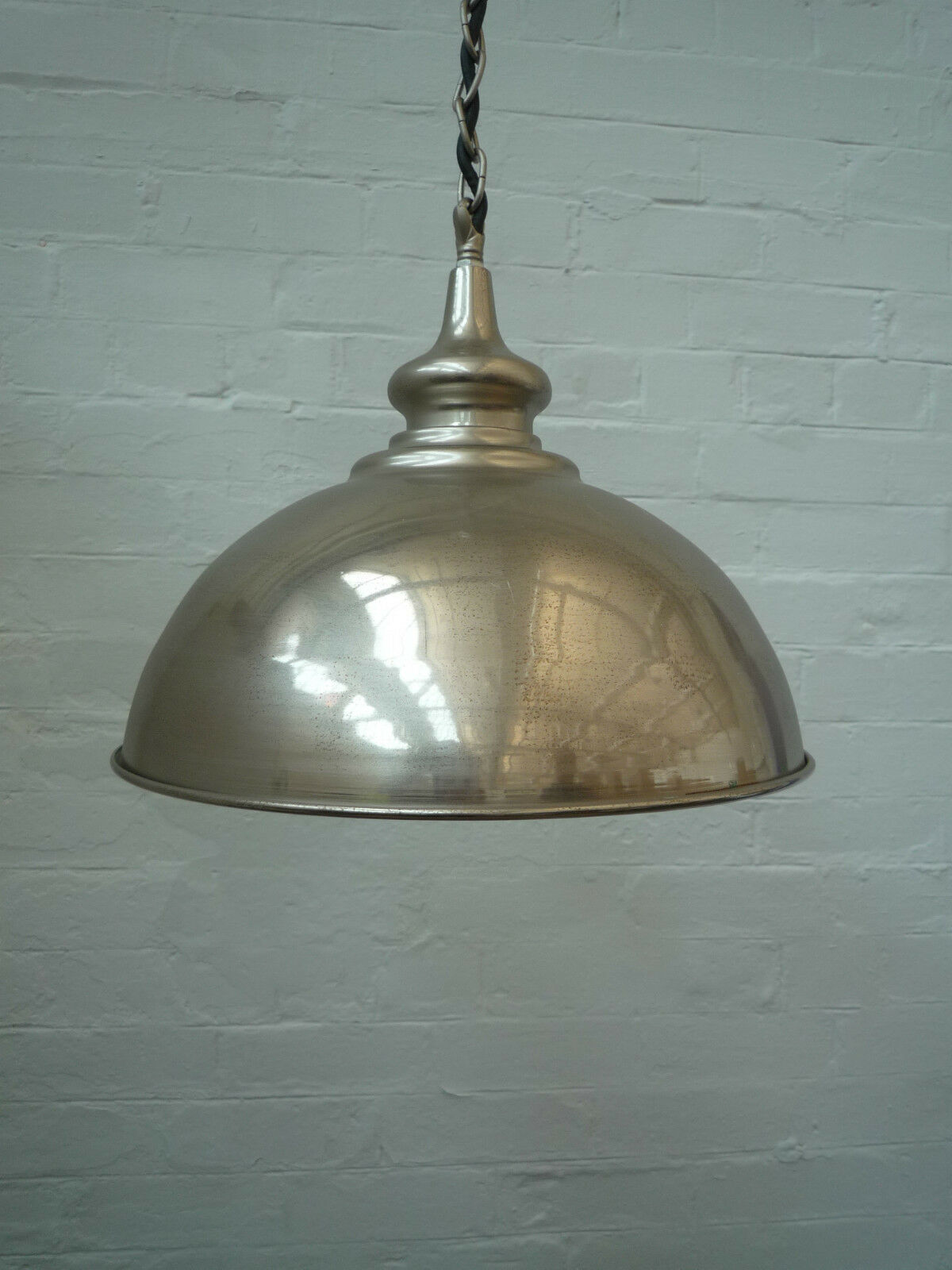 vintage metal industrial chrome pendant ceiling light shade ebay