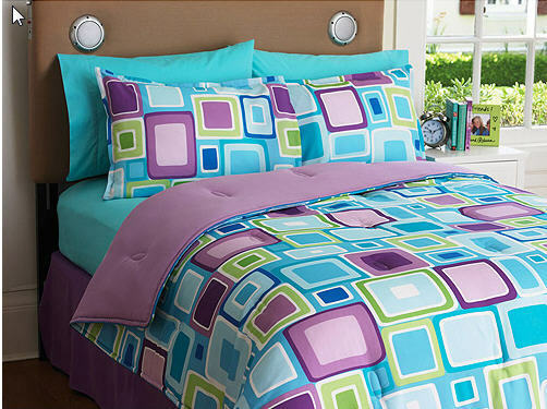 Reversible purple green aqua teen twin comforter set - Green and purple comforter ...