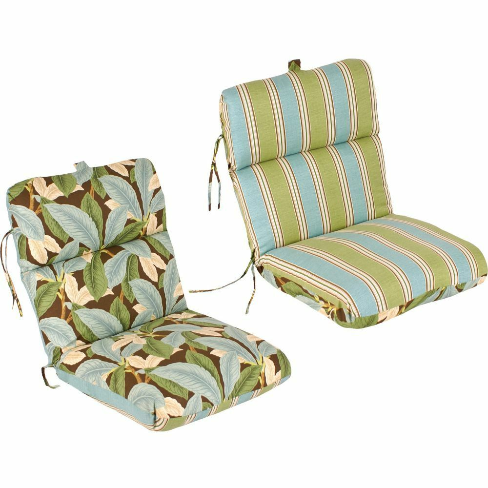 Reversible replacement outdoor patio chair cushion 100 spun polyester fiber fil ebay - Seat cushions for patio furniture ...