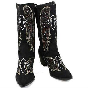 rhinestone bling womens western boots black wings cross
