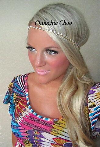 Rhinestone Crystal Gold Diamond Vtg Hair Band Choochie