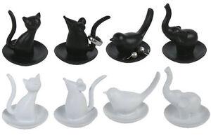 ringhalter katze maus vogel elefant schmuckhalter neu geschenk wei schwarz ebay. Black Bedroom Furniture Sets. Home Design Ideas