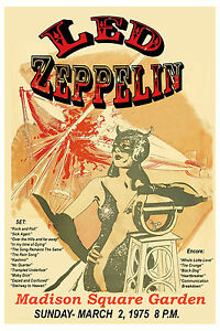 Robert plant jimmy page led zeppelin at madison square garden tour poster 1975 ebay for Led zeppelin madison square garden