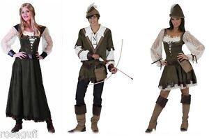 Robin-Hood-Damen-o-Herren-Kostuem-Mittelalter-Kleid-Larp-Karneval-Wildlederoptik