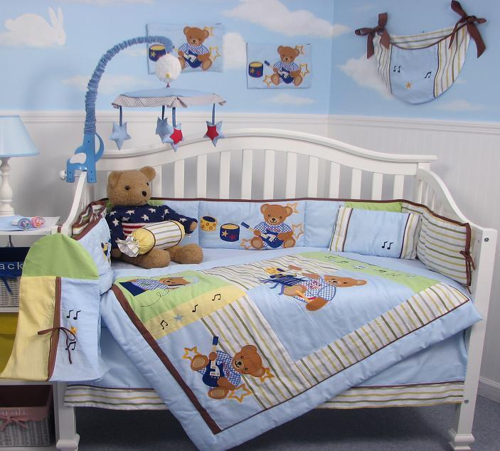 Rock n roll teddy bear baby crib nursery bedding set 13 for Rock n roll baby crib set