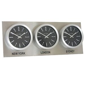 Roco verre time zone 3 dial wall clocks18cm stainless steel backplate ebay - Wereld kruk ...