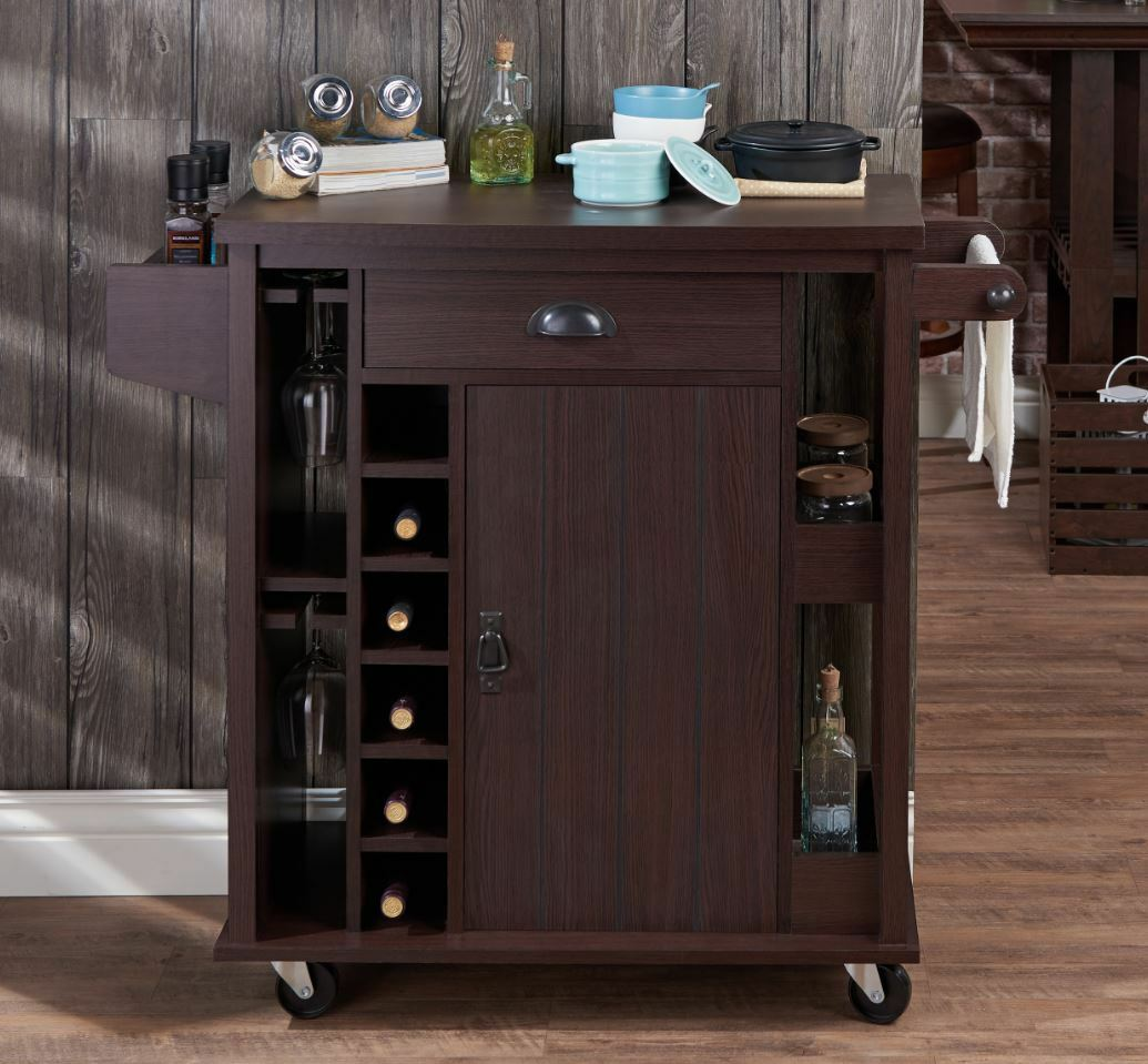 Rolling Kitchen Cabinets: Rolling Kitchen Serving Cart Island Storage Utility Wine