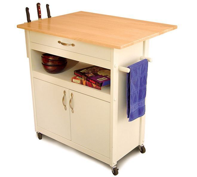 Rolling Utility Cart Wood Top Cabinet Storage Organizer