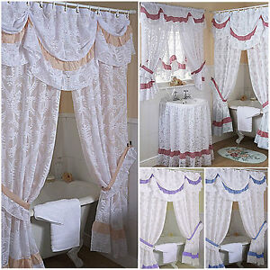 romantic lace bathroom shower or window curtains mock