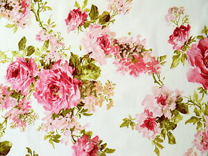 romantik rosen deko stoff shabby landhaus rosenstoff rosa wei f gardinen hussen ebay. Black Bedroom Furniture Sets. Home Design Ideas