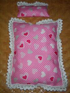 romantische bettw sche aus herzstoff mit spitze f r barbie. Black Bedroom Furniture Sets. Home Design Ideas