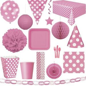 rosa punkte party geburtstag dekoration kindergeburtstag deko pink kinderparty ebay. Black Bedroom Furniture Sets. Home Design Ideas