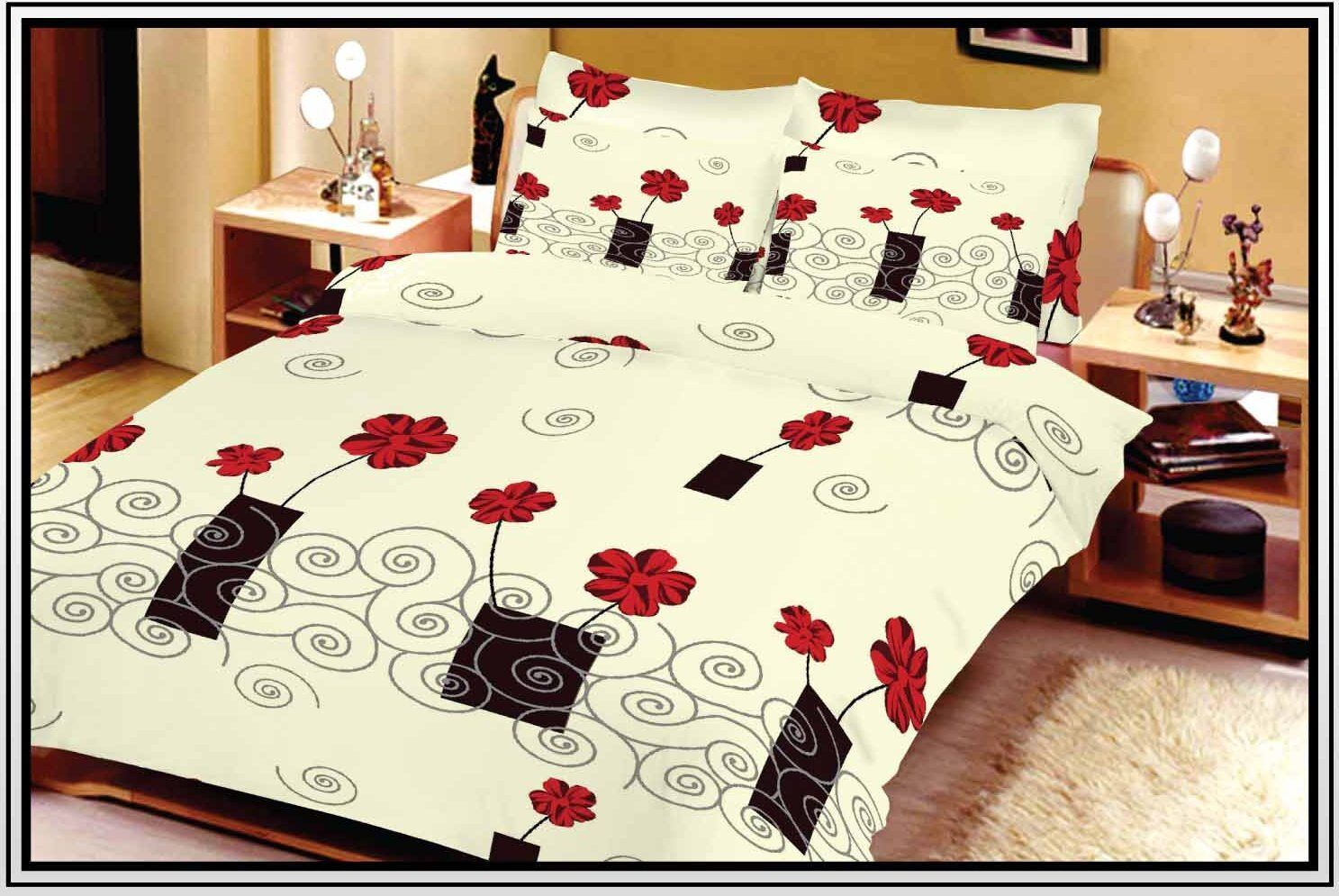 200x200 cm mikrofaser bettbezug rose creme. Black Bedroom Furniture Sets. Home Design Ideas