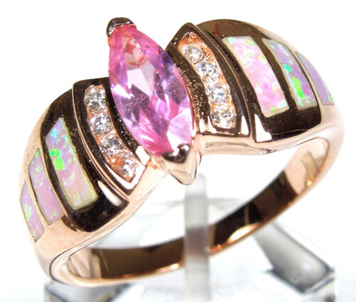 Rose Gold Plated 925 Sterling Silver Pink Topaz & Pink Fire Opal Inlay Ring in Jewelry & Watches, Handcrafted, Artisan Jewelry, Rings | eBay