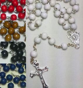 Rosenkranz-Kette-Kreuz-Maria-Damen-Herren-Holz-Perlen