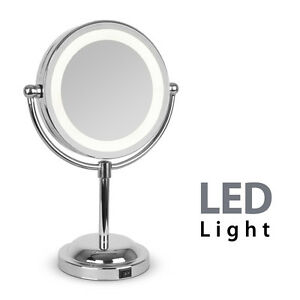 Round Silver Free Standing LED Light Make Up Vanity Dressing Table Mirror G