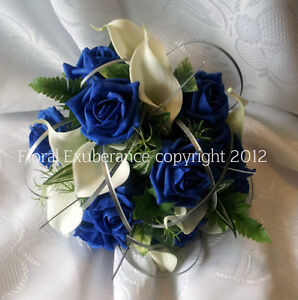Royal Blue And Ivory Bridesmaids Handtied Bouquet Silk Wedding Flowers