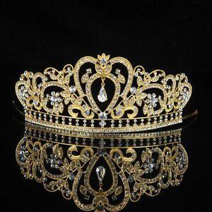 Royal Gold Crystal Tiara Crown Wedding Prom Pageant Crowns ...