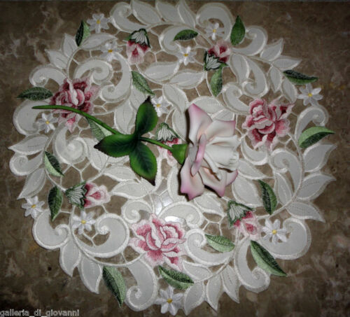 """Royal Rose Lace  Doily Flower Floral  16"""" Round  Roses"""