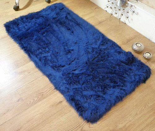 Washable Sheepskin Rugs For Dogs: Royal Blue Navy Faux Fur Sheepskin Style Oblong Rug 70 X