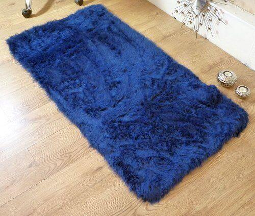 Royal Blue Navy Faux Fur Sheepskin Style Oblong Rug 70 X