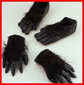 Rubber Gorilla Ape Adult Hairy Hands + Feet Fancy Dress. Zoom; Enlarge