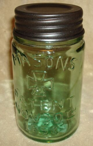Rustic Apple Green MASON'S 1858 Canning Fruit Jar PINT in Collectibles, Bottles & Insulators, Bottles | eBay