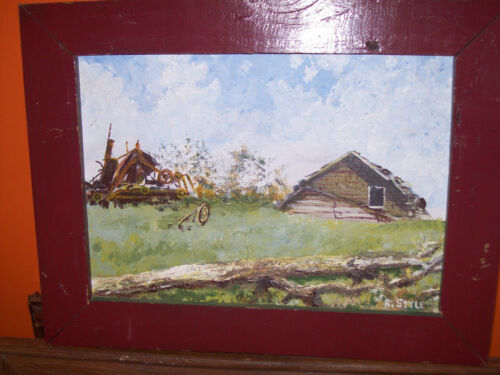 Rustic Original Country Farmhouse Oil Painting Signed Nice Frame Ready To Hang! in Art, Art from Dealers & Resellers, Paintings | eBay