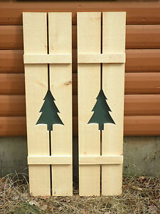 Rustic pine shutters log cabin exterior window custom Exterior shutters with cut out designs