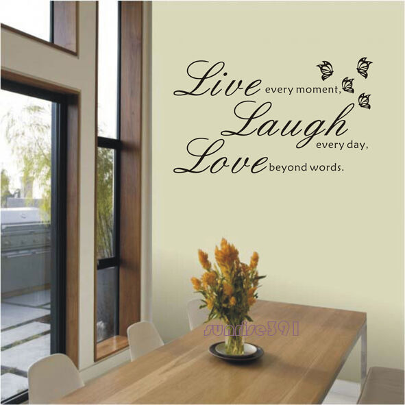 012J Live Laugh Love Quote Wall Stickers Home Decor Art Decal