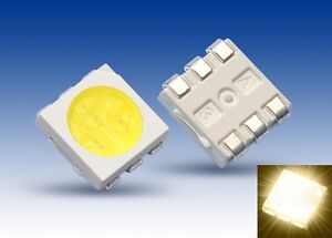 S076-10-Stueck-SMD-LED-PLCC-6-5050-warmweiss-9000-mcd-Ultrahell-3-Chip-LEDs