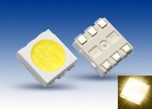 S923-20-Stueck-SMD-LED-PLCC-6-5050-warmweiss-3-Chip-LEDs-warm-white