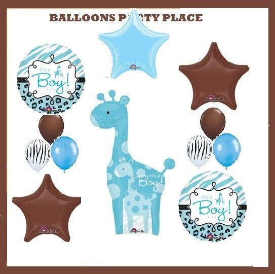 Safari Boy Baby Shower Party Decorations Blue Giraffe Balloons Animal Jungle