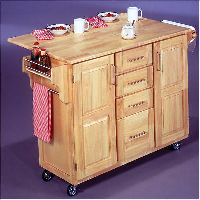 home styles natural wood kitchen island cart drop leaf wheels. Black Bedroom Furniture Sets. Home Design Ideas