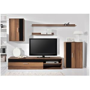 Sale new modern living room furniture barato set cabinets in black high gloss ebay for High gloss black living room furniture