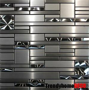 Sample Stainless Steel Metal Pattern Mosaic Tile Kitchen Backsplash ...