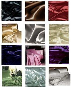 SATIN SILK~Y BED SHEET+PILLOWCASES TWIN-FULL-QUEEN-KING in Home & Garden, Bedding, Sheets & Pillowcases | eBay