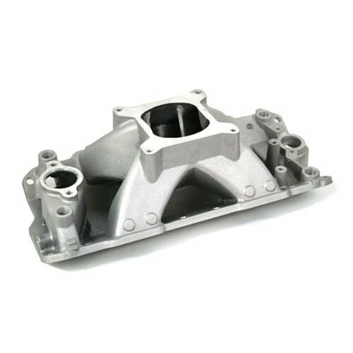 SBC GM 350 CHEVY Satin Aluminum High Rise Intake Manifold