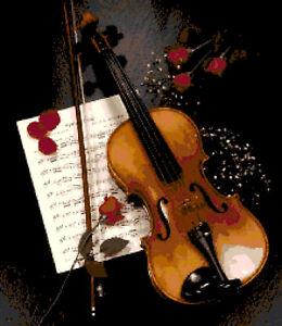 Schema schemi punto croce violino ricamo colori dmc ebay - Immagini violino a colori ...