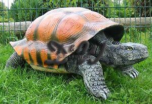 SCHILDKROTE-100-cm-mit-PANZER-Deko-Figur-Garten-Tier-Skulptur-lebensgross