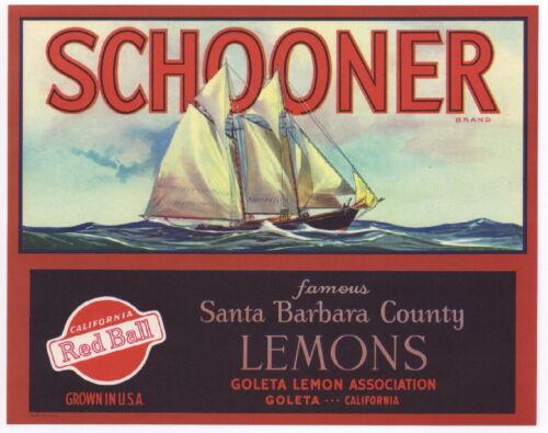 SCHOONER Vintage Santa Barbara Lemon Crate Label, Sailboat, *AN ORIGINAL LABEL* in Antiques, Maritime, Other   eBay