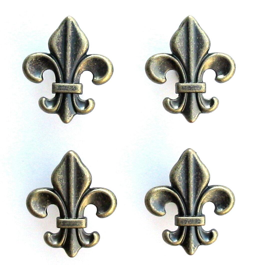 Four 4 Antique Brass Cabinet Drawer Pulls Fleur de Lis Knobs